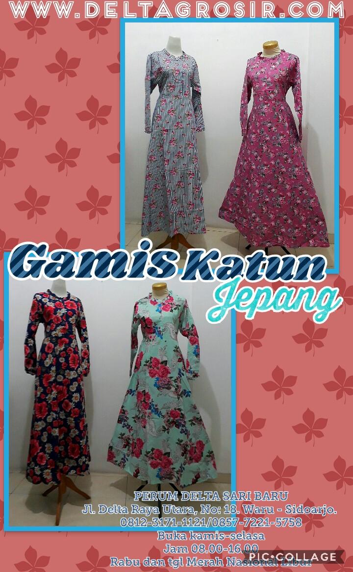 Grosir Baju Murah Surabaya,SMS/WA ORDER ke 0857-7221-5758 Distributor Gamis Katun Jepang Dewasa Murah Surabaya 80Ribu
