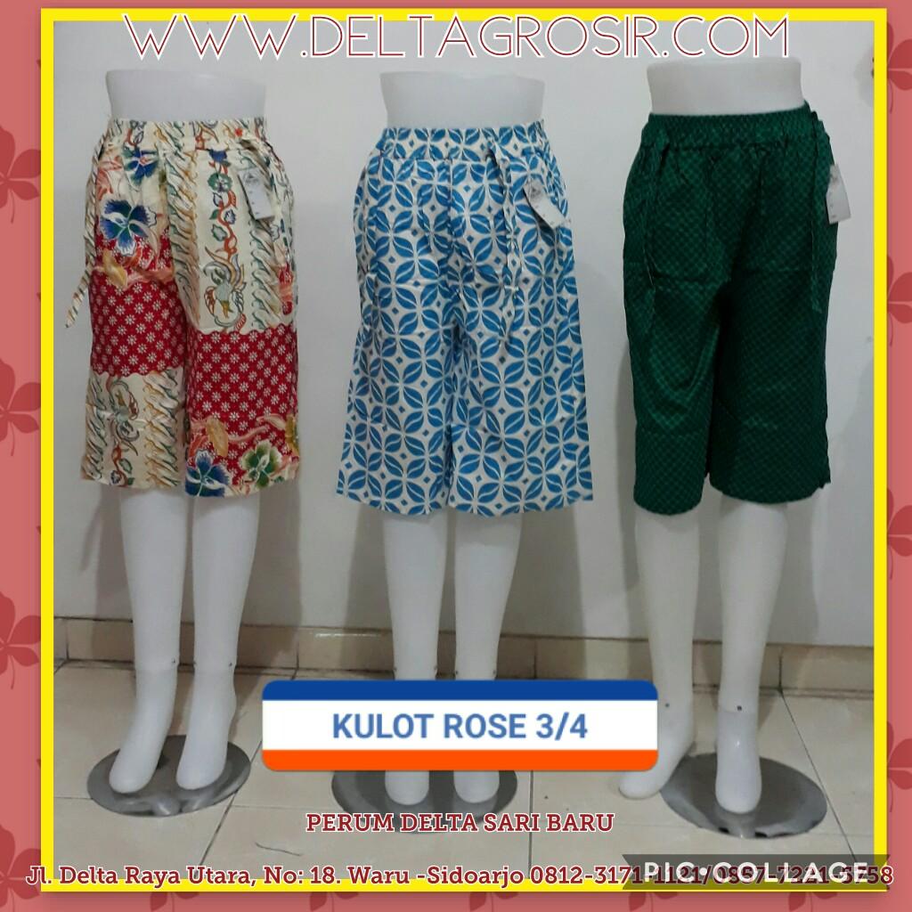 Grosir Baju Murah Surabaya,SMS/WA ORDER ke 0857-7221-5758 Supplier Celana Kulot Rose 3/4 Wanita Dewasa Murah Surabaya 27Ribu