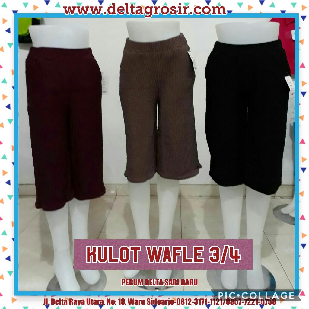 Grosir Baju Murah Surabaya,SMS/WA ORDER ke 0857-7221-5758 Produsen Celana Kulot Waffle 3/4 Wanita Dewasa Murah 26Ribu