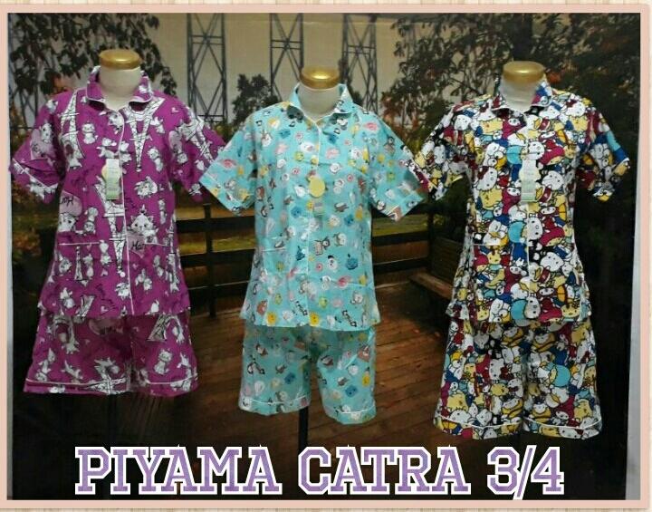 Grosir Baju Murah Surabaya,SMS/WA ORDER ke 0857-7221-5758 Supplier Piyama Katun Catra Dewasa 3/4 Murah Surabaya 55Ribu