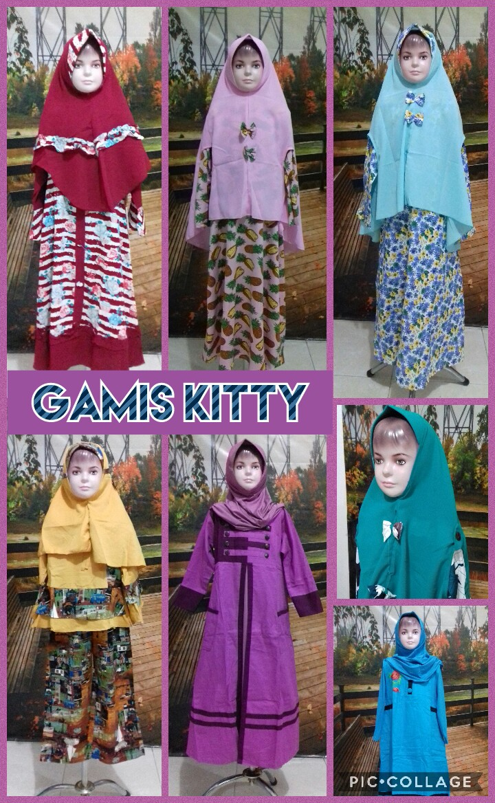 Grosir Baju Murah Surabaya,SMS/WA ORDER ke 0857-7221-5758 Distributor Gamis Kitty Anak Perempuan Syar'i Murah Surabaya 76Ribu