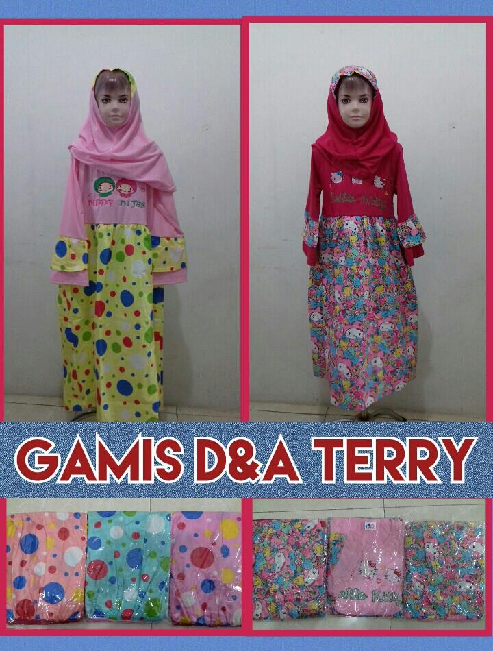 Grosir Baju Murah Surabaya,SMS/WA ORDER ke 0857-7221-5758 Konveksi Gamis DNA Terry Anak Perempuan Murah Surabaya 39Ribu