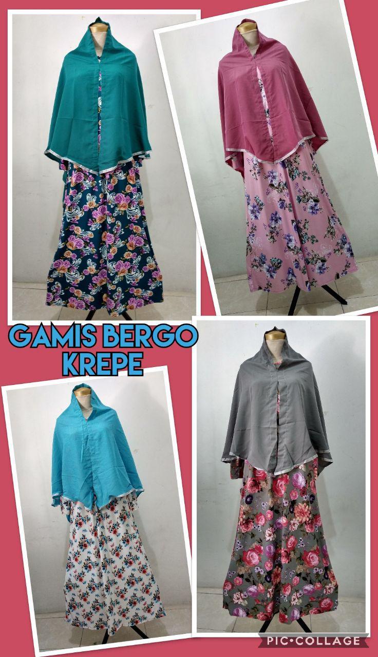 Grosir Baju Murah Surabaya,SMS/WA ORDER ke 0857-7221-5758 Supplier Gamis Bergo Krepe Dewasa Murah 64ribuan