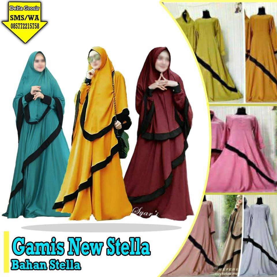 Grosir Baju Murah Surabaya,SMS/WA ORDER ke 0857-7221-5758 Distributor Gamis New Stella Dewasa Murah di Surabaya