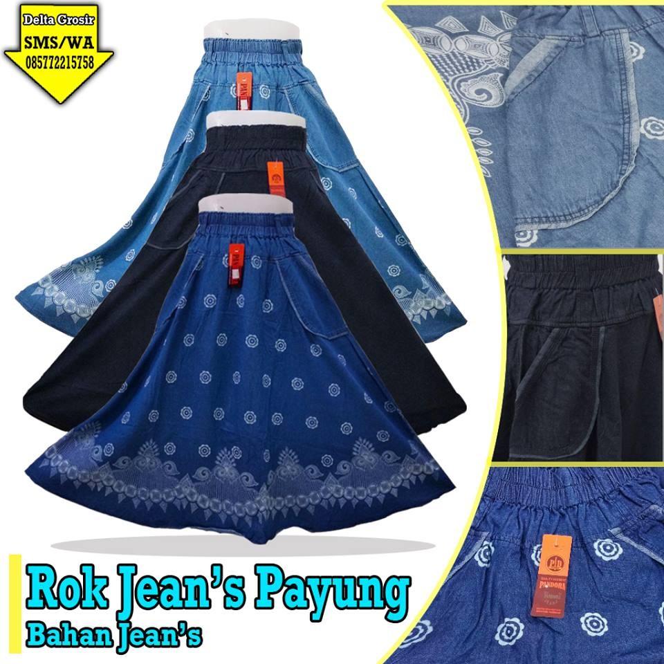 Grosir Baju Murah Surabaya,SMS/WA ORDER ke 0857-7221-5758 Grosir Rok Jeans Payung Dewasa Murah di Surabaya