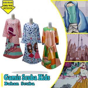 Grosir Baju Murah Surabaya,SMS/WA ORDER ke 0857-7221-5758 Pabrik Gamis Scuba Anak Murah di Surabaya