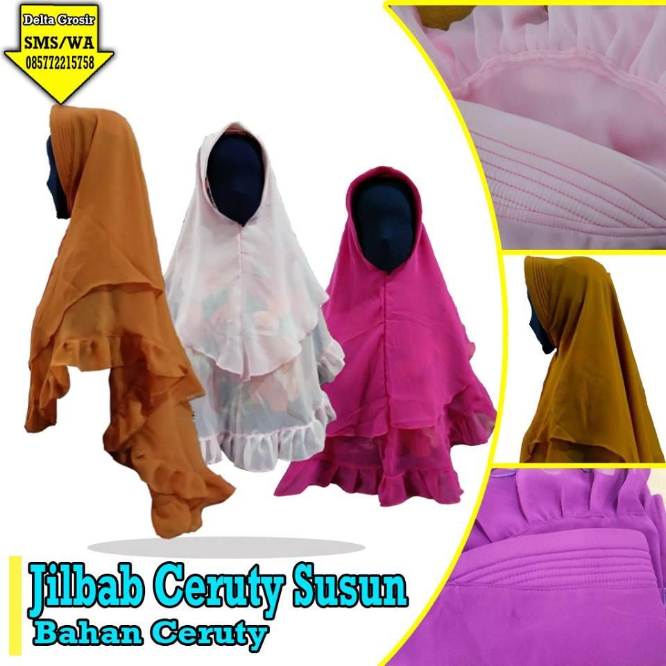 Grosir Baju Murah Surabaya,SMS/WA ORDER ke 0857-7221-5758 Supplier Jilbab Ceruti Susun Dewasa Murah di Surabaya