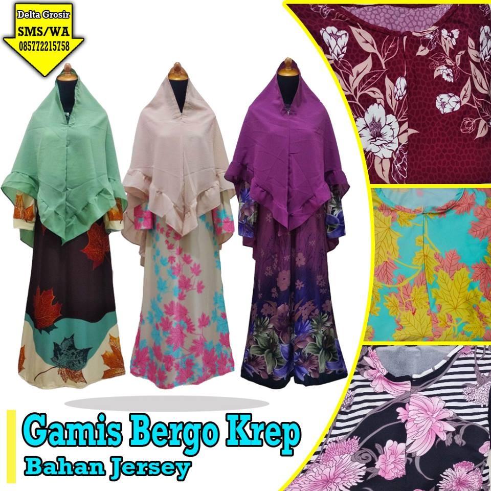 Grosir Baju Murah Surabaya,SMS/WA ORDER ke 0857-7221-5758 Supplier Gamis Bergo Krep Dewasa Murah di Surabaya