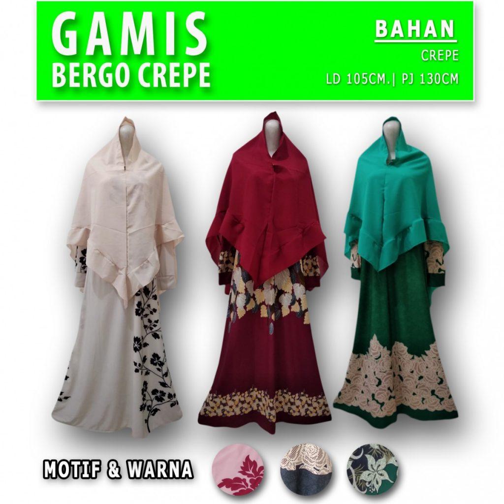 Grosir Baju Murah Surabaya,SMS/WA ORDER ke 0857-7221-5758 Pabrik Gamis Bergo Crepe Murah di Surabaya