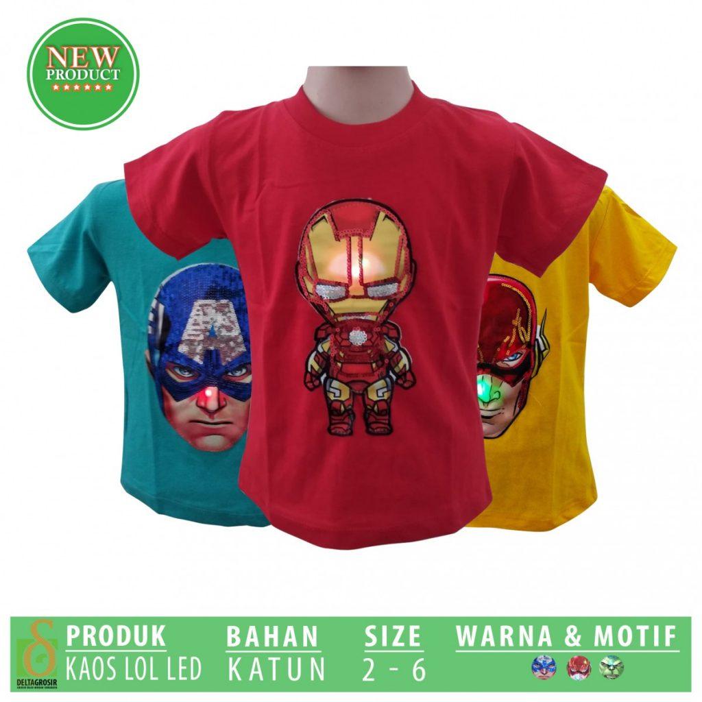 Grosir Baju Murah Surabaya,SMS/WA ORDER ke 0857-7221-5758 Grosir Kaos LOL LED Anak Murah di Surabaya