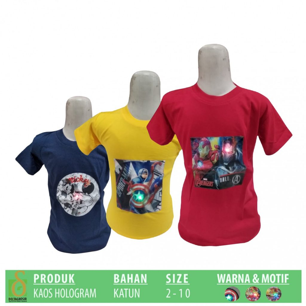 Grosir Baju Murah Surabaya,SMS/WA ORDER ke 0857-7221-5758 Produsen Kaos Hologram Anak Murah di Surabaya