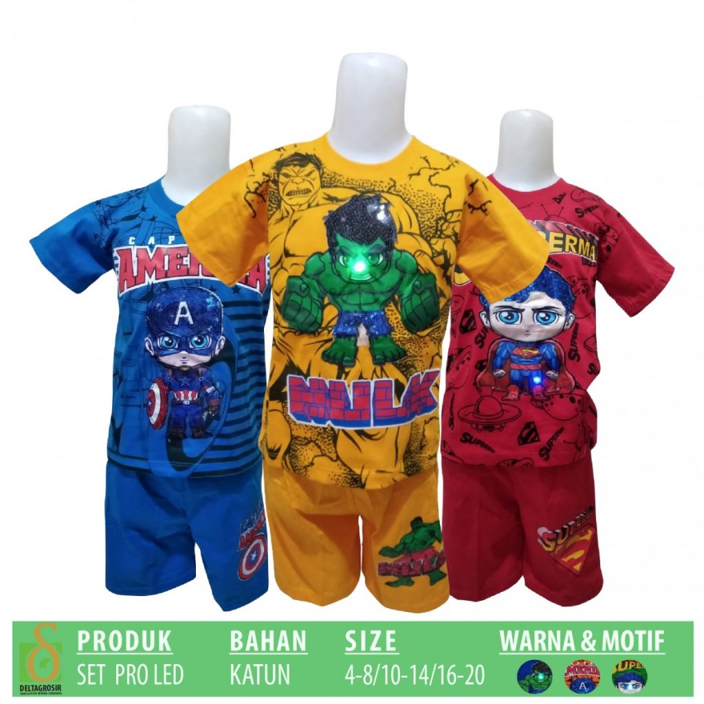 Grosir Baju Murah Surabaya,SMS/WA ORDER ke 0857-7221-5758 Supplier Setelan Pro Led Anak Murah di Surabaya