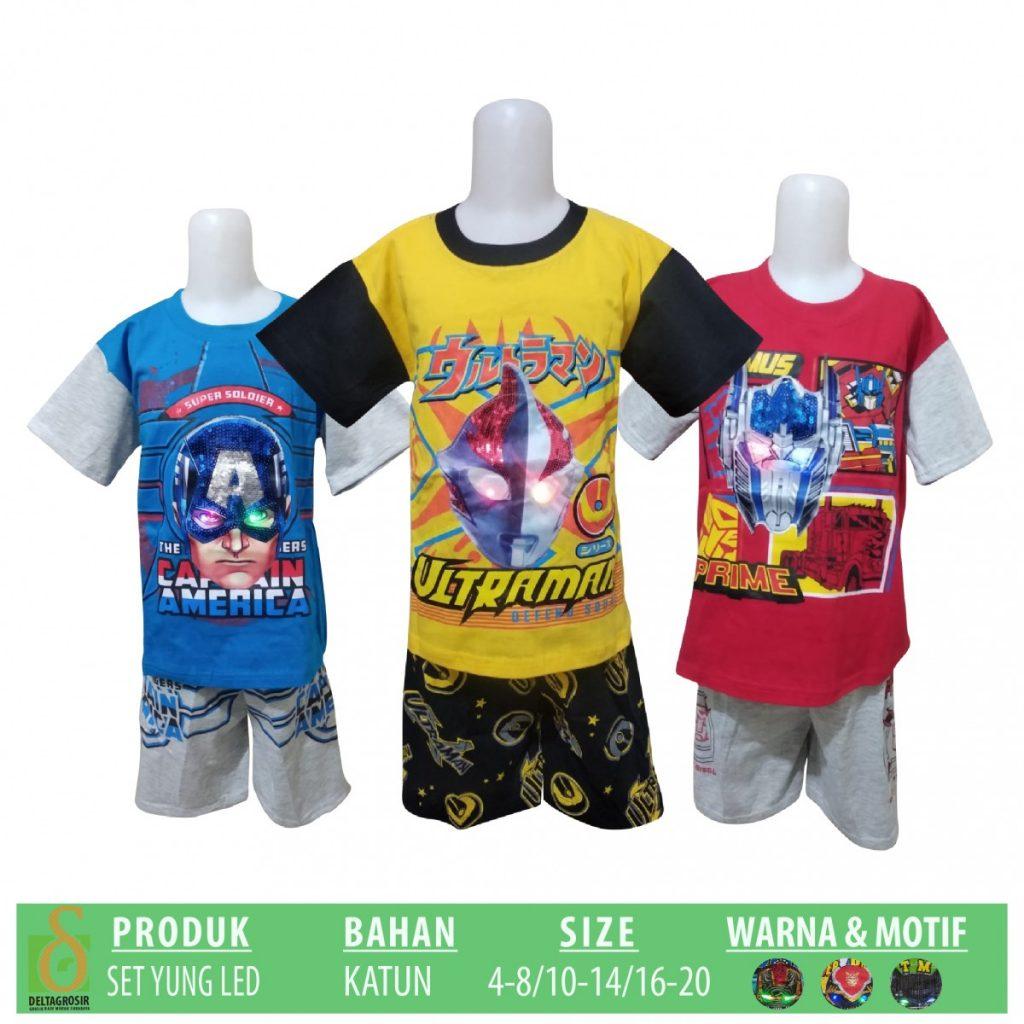 Grosir Baju Murah Surabaya,SMS/WA ORDER ke 0857-7221-5758 Supplier Setelan Yung Kids LED Anak Murah di Surabaya