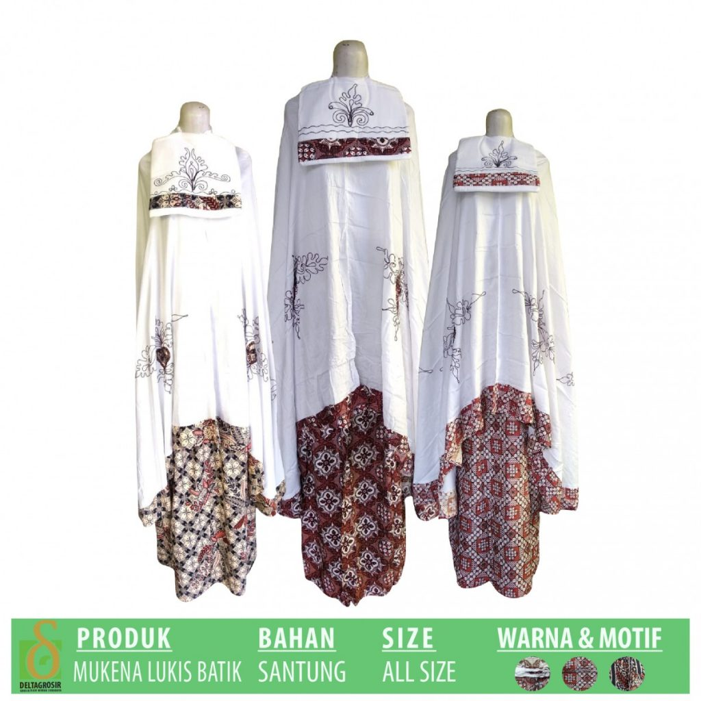 Grosir Baju Murah Surabaya,SMS/WA ORDER ke 0857-7221-5758 Pusat Kulakan Mukena Lukis Batik Dewasa Murah di Surabaya