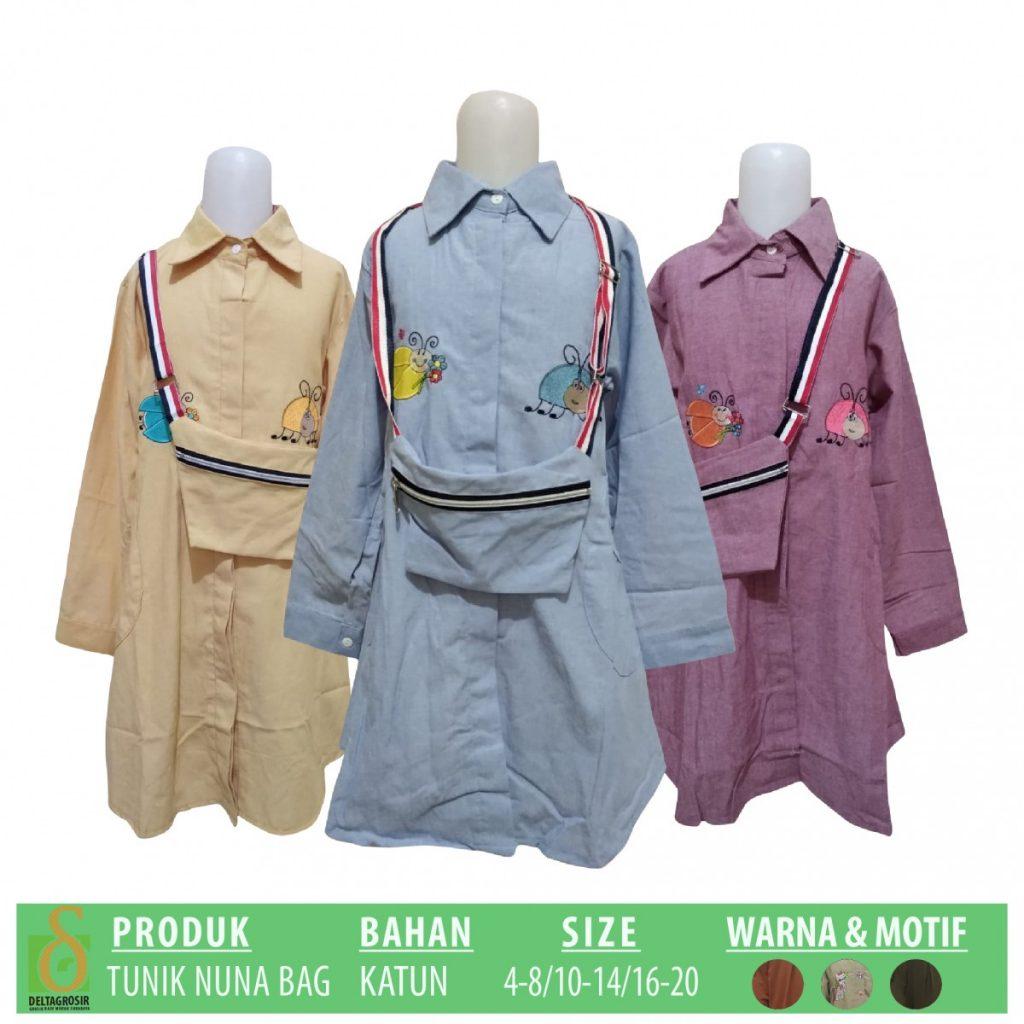Grosir Baju Murah Surabaya,SMS/WA ORDER ke 0857-7221-5758 Pabrik Tunik Nuna Bag Anak Murah di Surabaya